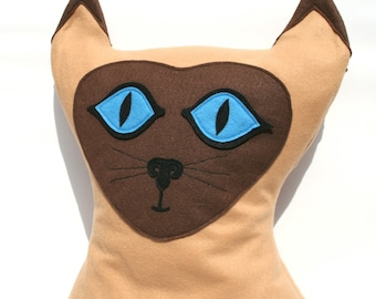 Big Kitty - Large Eco Felt Siamese Cat Pillow Cover