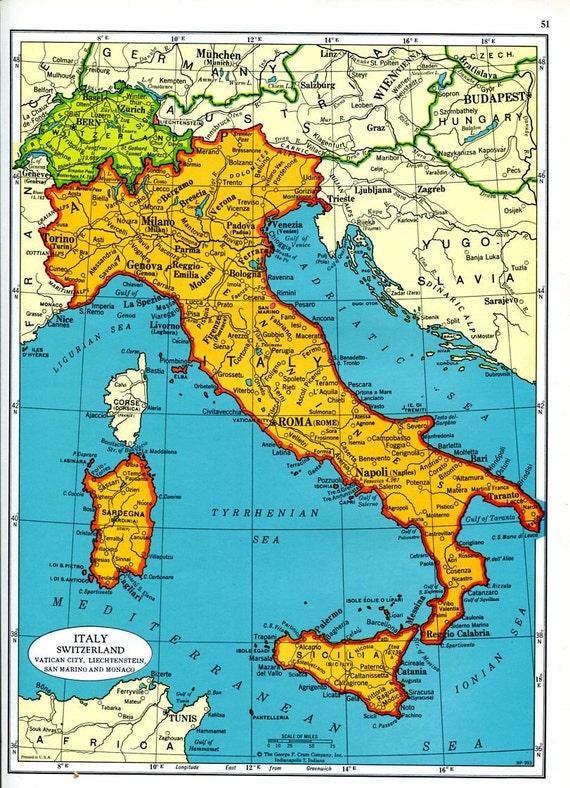 Items similar to former yugoslavia map italy switzerland map 1960s items similar to former yugoslavia map italy switzerland map 1960s europe cram atlas mid century on etsy gumiabroncs Choice Image