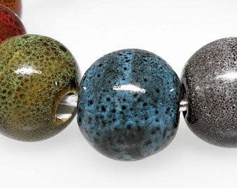 6 Porcelain Beads Mixed Color 18mm - BD462