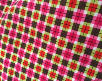 Cotton 21 Wale Corduroy Bright Pink Green Brown Print Fabric