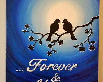 Lovers Birds Acrylic Painting. Love Birds - Valentine's Day Gift