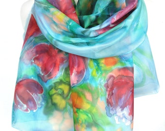 Tulips Scarf Shawl. Hand Painted Scarf. Woman Birthday Gift. Blue Floral Silk Shawl. Abstract Scarf. Silk Painting. 18x71in. Ready2Ship