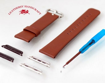Brown Leather - Apple watch band / strap & Lugs for 38mm and 42mm watch strap