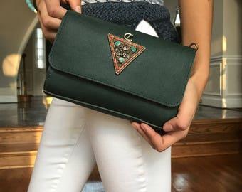 Embellished green leather bag