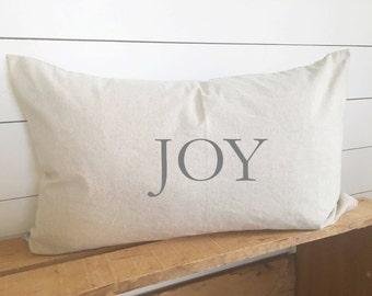 Joy Christmas Kidney Pillow Cover 16 x 26 // Christmas / Holiday / JOY / Accent Pillow / Throw Pillow / Gift
