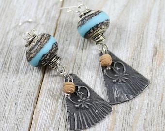 Artisan Bohemian Earrings~Rustic Chic~Gypsy Earrings-Boho-Chic
