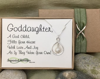Goddaughter Jewelry First Communion Gift for Her - Sterling Silver Freshwater Pearl Necklace - Goddaughter Confirmation Gift for Her Baptism