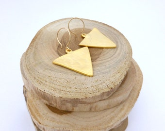 SUNSHINE COLLECTION:  Matte Gold Dipped Triangle Drop Earrings
