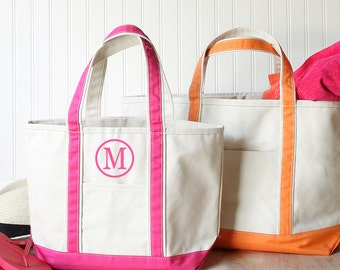 Monogram canvas tote, monogram beach bag, boat tote, monogrammed gifts for her, womens gift, Personalized Bridesmaid Tote Bag