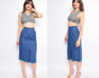 Vintage 70's Blue Denim Skirt / High Waisted Jean Midi Skirt - Size Extra Small