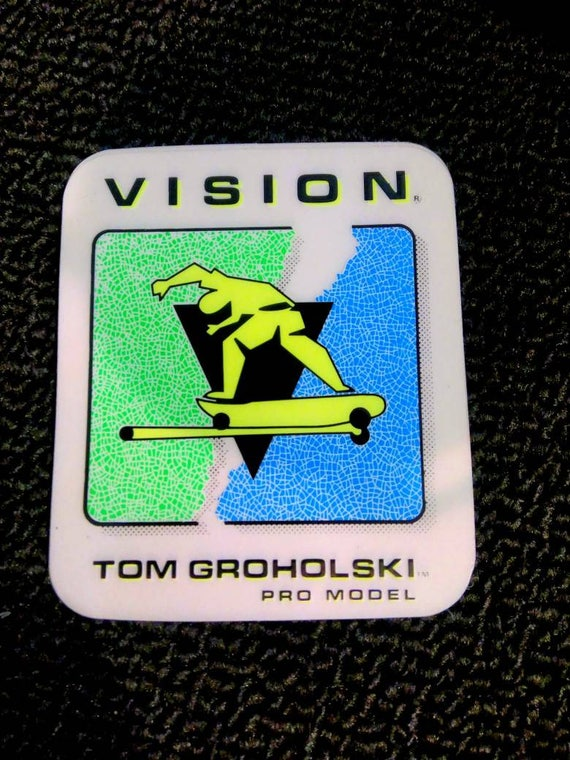 Vintage 80s Skateboard Sticker Vision Tom Groholski Pro Model