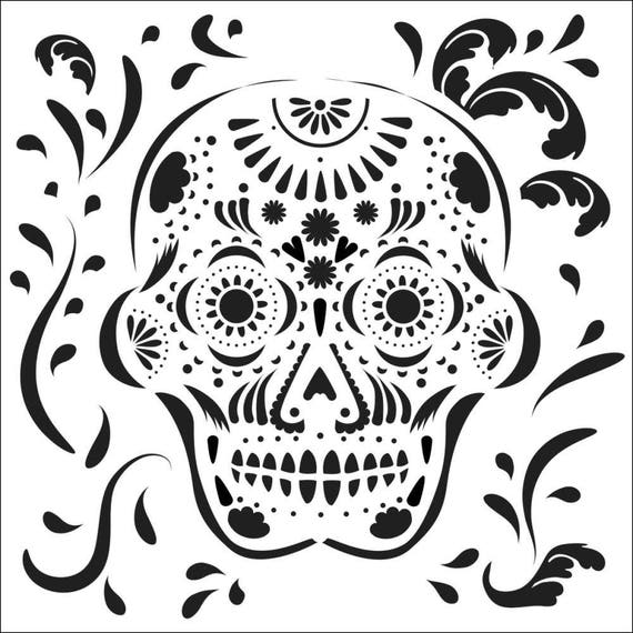"Mexican Skull 6"" x 6"" Stencil -day of the dead, with skull, hearts and flowers design perfect for mixed media, journaling and more"