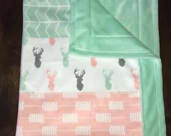 Mint Deer Minky Blanket