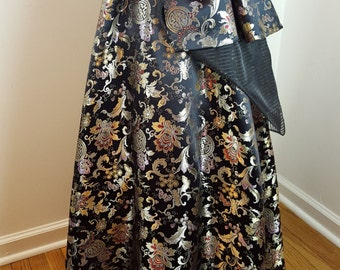 Chinese Brocade Ball Skirt with Removable Bustle - One Size - OOAK