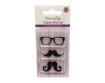3 glasses and mustaches + 1 free INKER clear stamps
