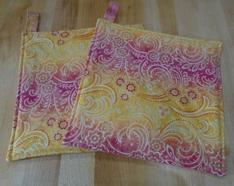 Yellow Hot Pads,Hot Pad,Hot Pads,Metallic Gold,Pink Pot Holders,Pot Holders,Pot Holder, Country Kitchen