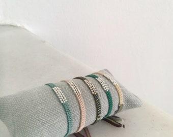 Pulsera ONORE/ Plata de ley/ cristal Delica/ cordón ajustable / personalizada