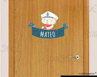 Customized sticker door name teddy sailor- Wall Decal Sticker