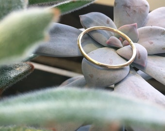 14k Gold Skinny Band, Solid 14k gold, Made to Order