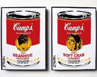 John Waters HAIRSPRAY Divine and Debbie Harry Pop Art Soup, original framed art set by Zteven