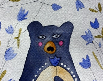 Spring Bear original watercolor, blue and black, black, cornflower, tulips, flowers, children's art, nursery art, bear and flowers
