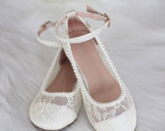 Girls IVORY LACE Shoes with PEARLS and ankle strap - For Flower Girls, Baptism and Christening Shoes