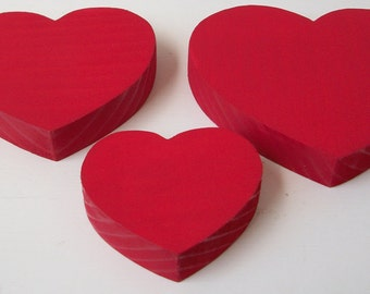 Red Wooden Hearts - Valentine - Home Decor - Red Wood Heart Set of 3