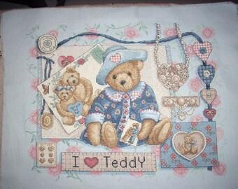 I Heart Teddy Cross-Stitch Hanging