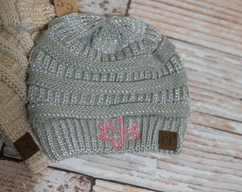 Monogram CC Beanie Skull Hat with Initials on Front Winter Hat