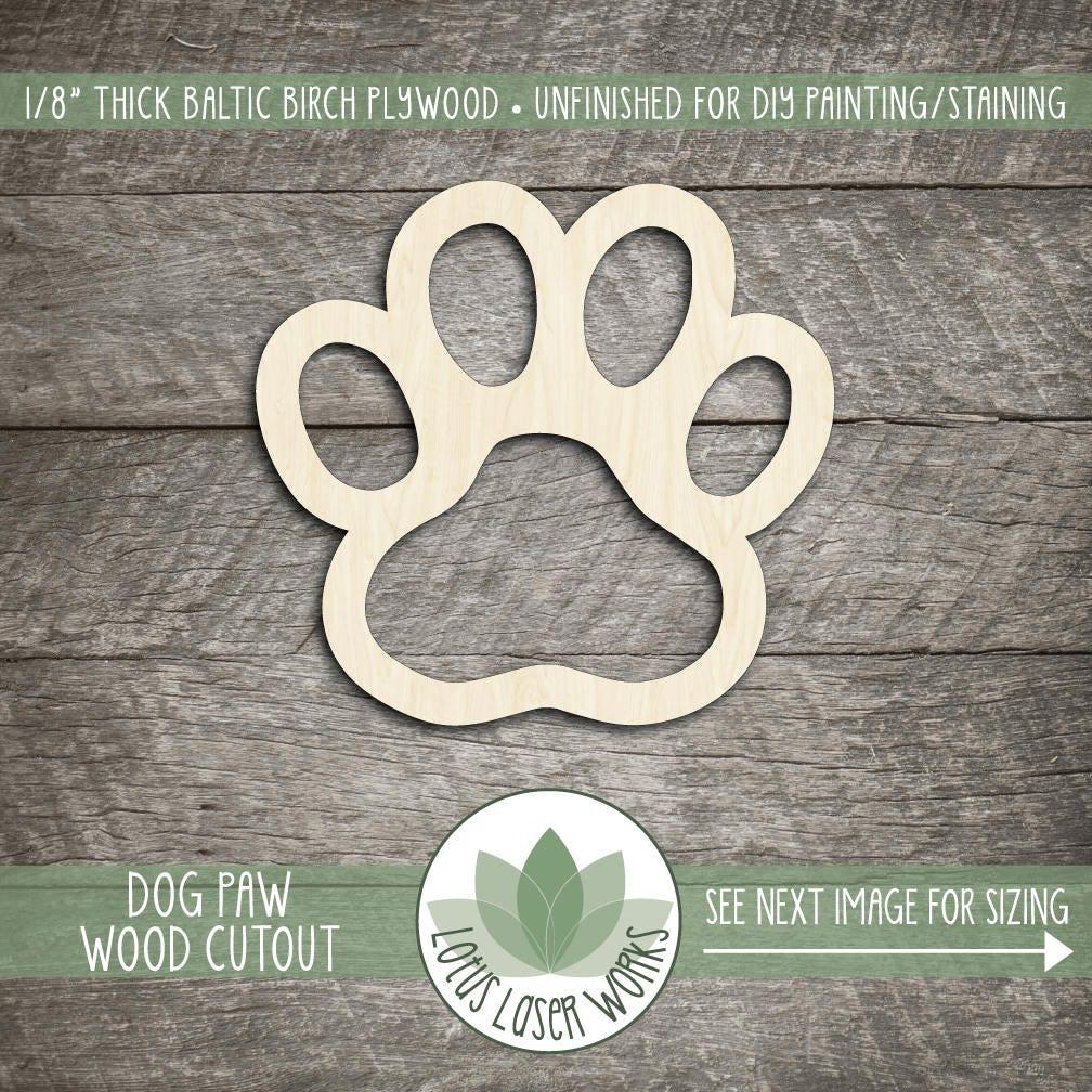 Paw Print Laser Cut Wood Shape Dog Paw Wooden Cut Out Wood