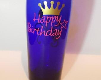 Happy Birthday blue glass