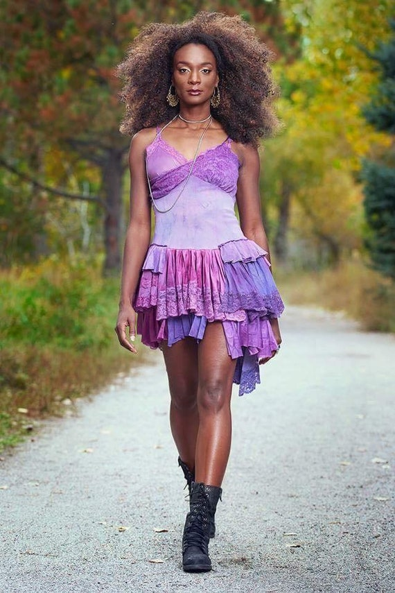 Ruffled Purple Grunge Mini Dress