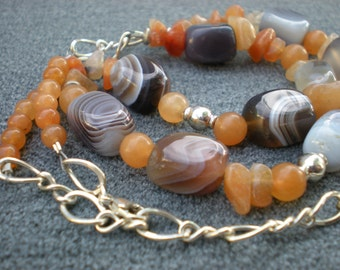 Autumn dawn beaded necklace, Botswana agate, red aventurine, sterling silver, natural stone, unique jewelry by Grey Girl Designs on Etsy