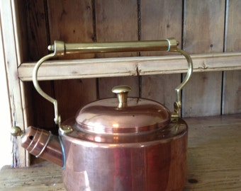Great Vintage Copper and Brass Tea Kettle
