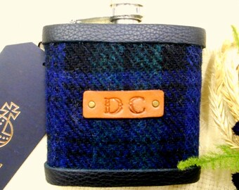 Personalised Monogrammed Harris Tweed hip flask with 1-3 initials Scottish luxury gift for Christmas , birthday, Fathers Day or retirement c