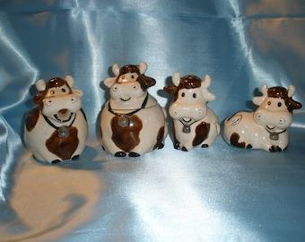 Vintage Cow Sugar Creamer with Salt Pepper Shakers Set Cute!