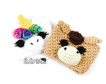 Unicorn Crochet Pattern -  Unicorn Coffee Cozy Pattern - Coffee Sleeve Pattern - Pony Crochet Pattern - Horse Crochet Pattern