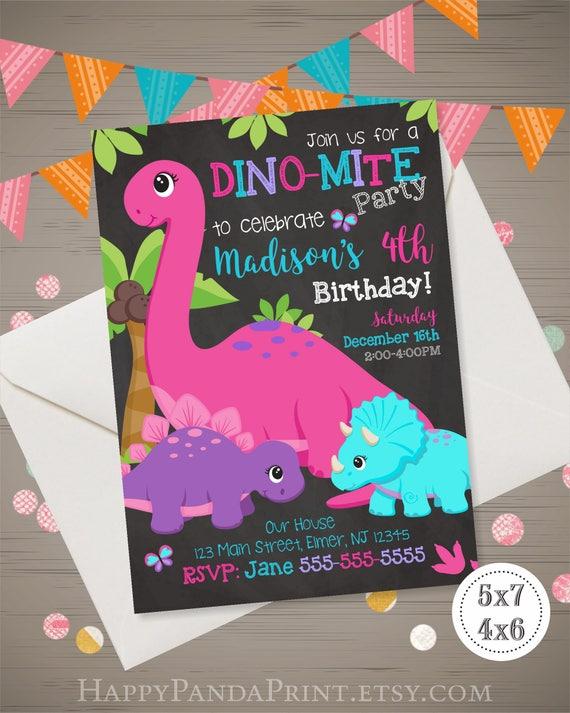 Girl dinosaur invitation dinosaur birthday invitation girl filmwisefo