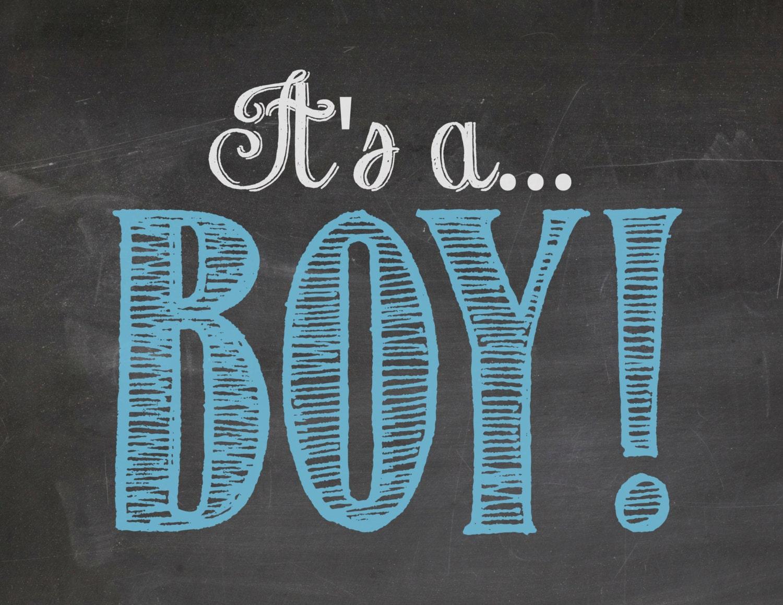 Its A Boy Gender Announcement Reveal Blue Chalkboard - Boy announcement