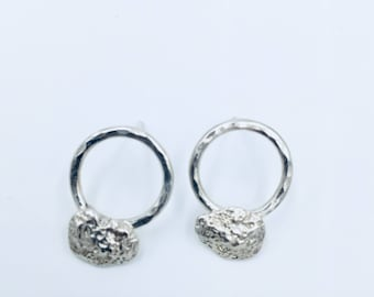 "Sterling silver ""nugget"" hoop stud earrings Lisa Colby Metalsmith"