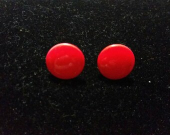 Small Vintage Red Button Earrings - pierced stud posts painted metal