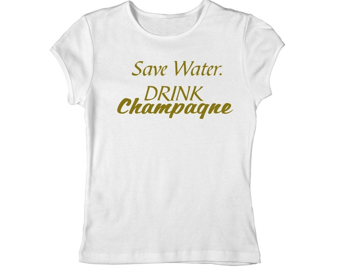 Save Water Drink Champagne Shirt . Drinking Shirt . Party Shirt . Champagne Shirt . Funny Tee Shirts . Gold Font Shirt .