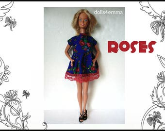 SUPERSIZE 18in  BARBIE and Christie Doll Clothes - ROSES Baby-doll Dress - by dolls4emma