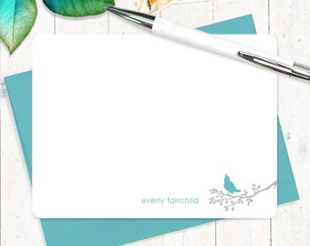 personalized note card set  - BIRD ON BRANCH - set of 12 flat note cards - personalized stationary - stationery for her - gift set