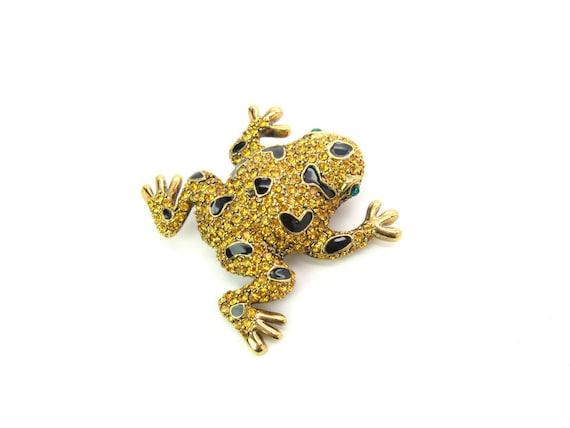 Vintage Golden Rhinestone & Black Enamel Figural Frog or Toad Brooch