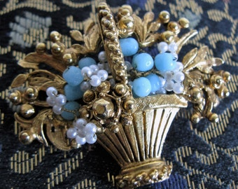 Vintage FLORENZA Blue Beaded Brooch 1960s Gold-tone Flower Bouquet Beaded 60s Pin