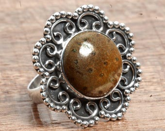 Genuine Petrified Palm Wood Gemstone Handcrafted 925 Sterling Silver Ring US Ring Size 6
