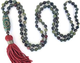Jasper Dragon Blood Mala Necklace, Tibetan Agate knotted necklace, Green gemstones mala, Yoga Meditation Necklace, Buddhist Tassel necklace