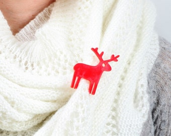 Red Reindeer Brooch,Plexiglass Jewelry,Lasercut Acrylic,Gifts Under 25