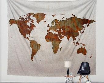 World map tapestry rustic fabric art print wall hanging world map tapestry rusted steel on linen fabric art print wall hanging gumiabroncs Gallery